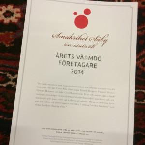 Diplom Årets Värmdöföretagare 2014